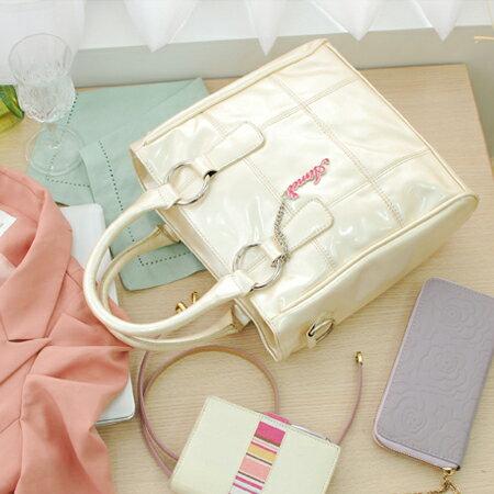 ~Aimee包包屋~韓風春夏果凍款~日式亮麗小提包~蘋果紅、金屬灰、珍珠白~~防水漆皮兩用