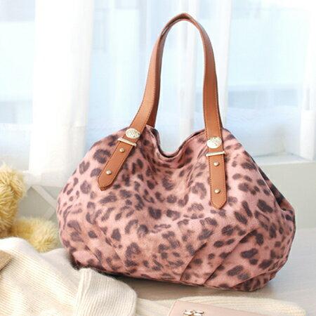 【Aimee包包屋】正韓版首爾超熱賣☆溫馨之旅.豹紋小絨包《粉》☆手提包斜背包旅行包麂皮