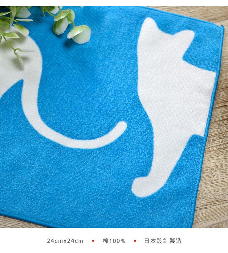 日本今治 - ORUNET - 貓咪手帕(白貓藍底)《日本設計製造》《全館免運費》,有機棉,純棉100%,觸感細緻質地柔軟,吸水性強,日本設計製造,天然水洗滌工法,不使用螢光染料,不添加染劑