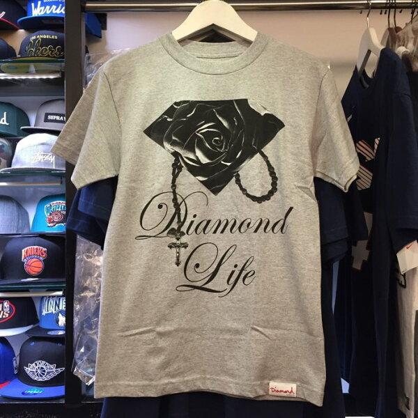 BEETLE PLUS 西門町 全新 DIAMOND SUPPLY CO ROSE BRILLIANT 玫瑰 鑽石 項鍊 灰黑 短TEE D14DPA69HEA DA-10
