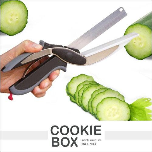 CLEVER CUTTER 不鏽鋼 攜帶型 多功能 食物 剪刀 砧板 2合1 露營 方便 安全 刀具 *餅乾盒子*