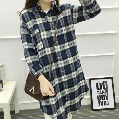 上衣 - 法蘭絨寬鬆長袖長版格子襯衫【29200】藍色巴黎 - 現貨 + 預購 1