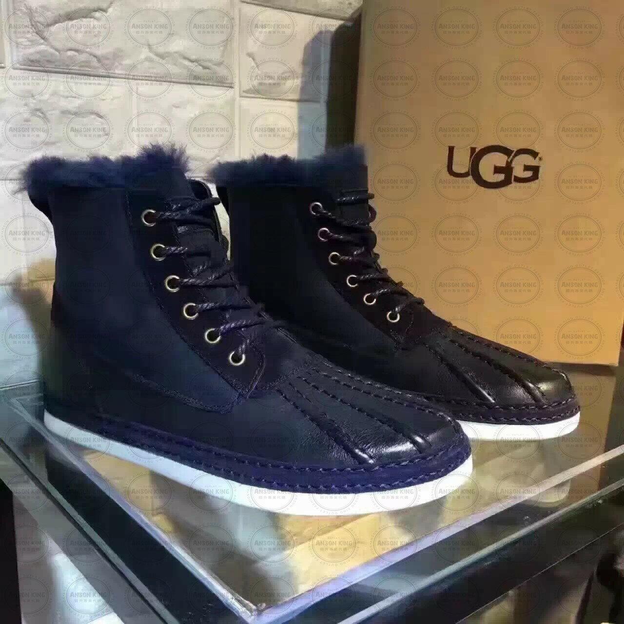 OUTLET正品代購 澳洲 UGG 冬季男款貝殼頭馬丁靴 短靴 保暖 真皮羊皮毛 雪靴 短靴 深藍 1