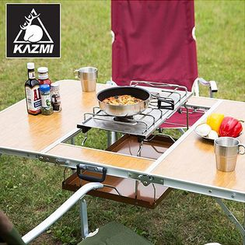 【露營趣】中和 KAZMI K5T3U002 三段式三折合燒烤桌 BBQ三用桌 摺疊桌 休閒桌 露營餐桌 可配焚火台烤肉架