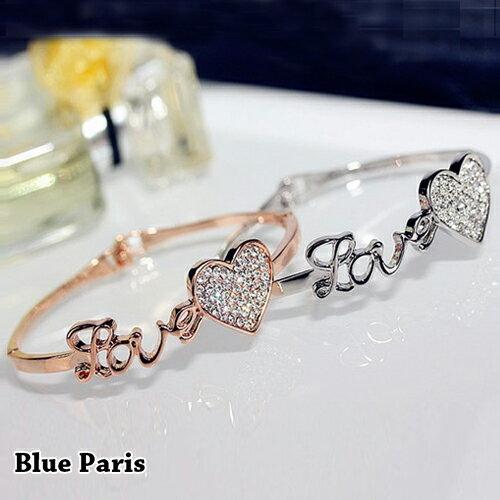 手環 - 氣質LOVE字母鑽石愛心手鐲【21557】 藍色巴黎《2色》現貨+預購