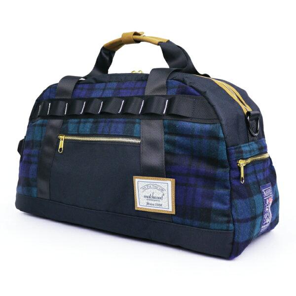 REMATCH - Matchwood Boston 波士頓包 綠藍格紋法蘭絨毛料款 旅行包 托特包 斜背包 側背包 手提包 行李袋 運動 / 休閒旅遊 / Herschel / master-piece / HEADPORTER 可參考