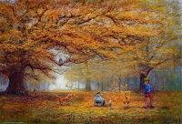 小熊維尼周邊商品推薦【進口拼圖】迪士尼 DISNEY-小熊維尼 油畫 秋天的森林 1000片 D-1000-336