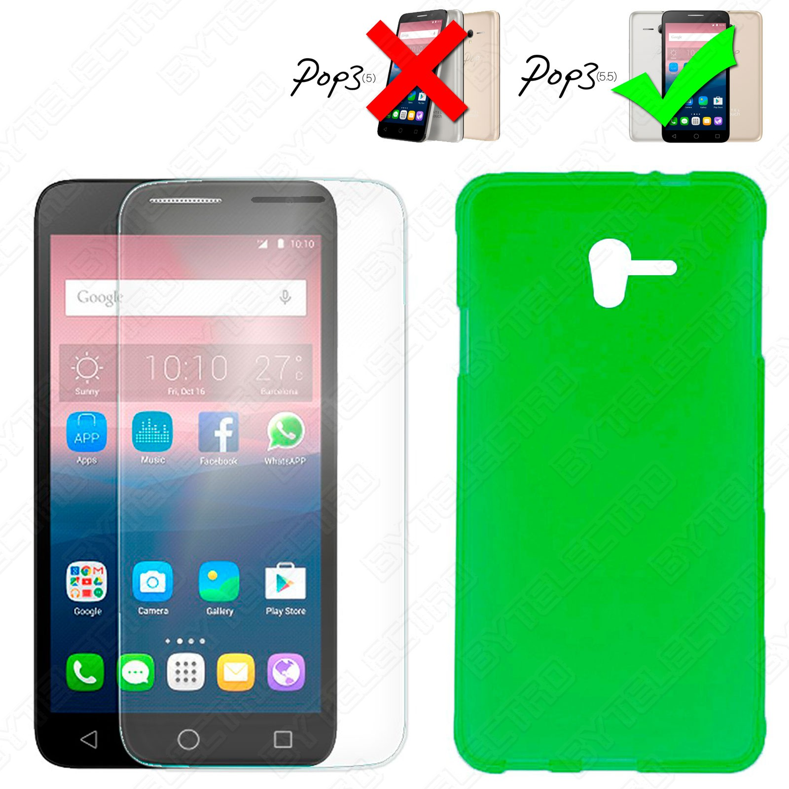 Funda Gel TPU + Cristal Templado ALCATEL ONETOUCH POP 3 (5.5) (Varios Colores) 1