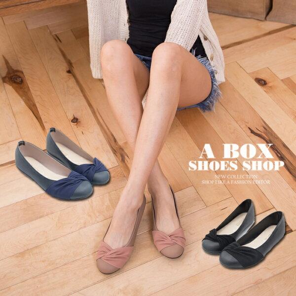 格子舖*【AWA87】MIT台灣製 上班族穿搭必備素面皮革拼接抓皺 圓頭平底包鞋 娃娃鞋 2色