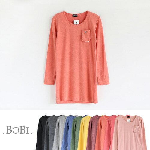 T恤 素色磨毛棉圓領口袋長袖T恤【MZTX0111】 BOBI  10/27 0