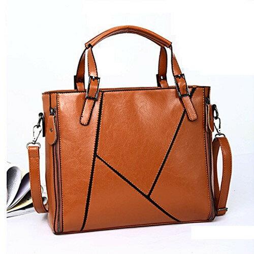 (現貨 附發票)側背包- 拼接幾何線條手提側背兩用包包- 寶來小舖-JB-1088
