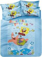 海綿寶寶週邊商品推薦戀家小舖~【海綿寶寶-朋友篇 】雙人床包兩用被組