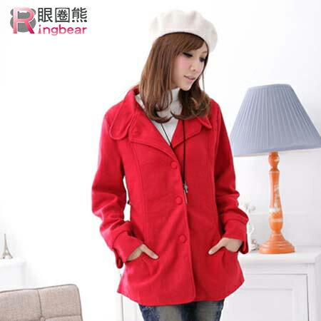 外套--保暖禦寒首選西裝領素面收腰短大衣(黑.紅M-2L)-J97眼圈熊中大尺碼