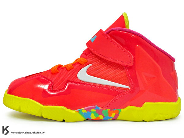 2014 NBA MIAMI HEAT 熱火隊 全新代言鞋款 NIKE LEBRON XI 11 TD BT FRUITY PEBBLES 幼童鞋 BABY 鞋 紅 七彩彩虹 糖果 JAMES AIR MAX (621714-600)