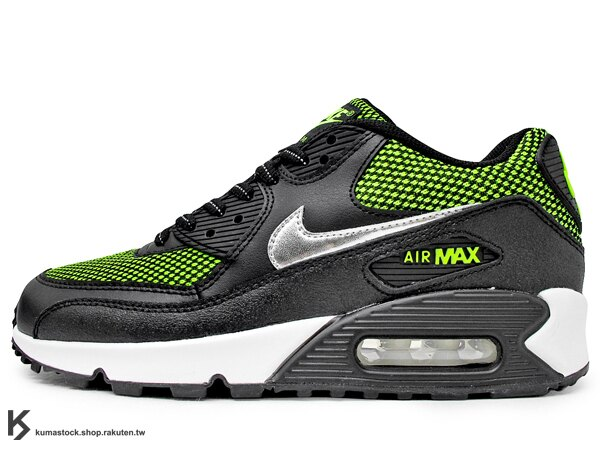[24cm] 2014 NSW 經典復刻 慢跑鞋款 糖果 甜心 女孩專用 NIKE AIR MAX 90 LE GS 大童鞋 女鞋 黑螢光綠 網布 牛巴戈 慢跑鞋 (631381-001)