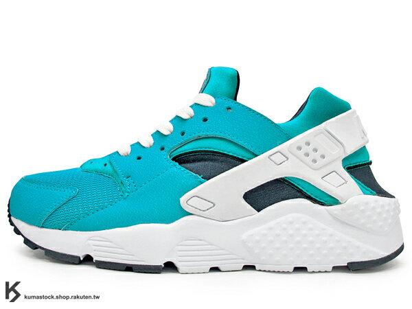 [23.5cm] 2015 最新款 1992 經典鞋款 重新復刻 NIKE HUARACHE RUN GS 女鞋 藍白 湖水藍 網布 透氣 輕量 慢跑鞋 韓風 韓流 AIR (654275-401) !