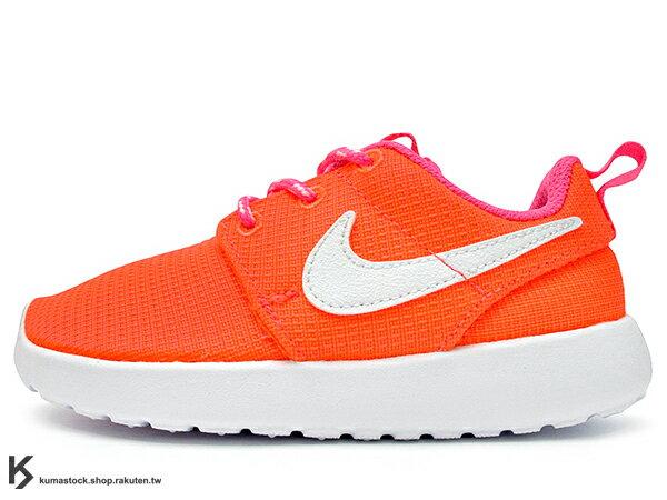 2014 人氣超熱賣 NSW 輕量舒適 NIKE ROSHERUN ROSHE ONE PS TD 幼童鞋 BABY 鞋 小童鞋 童鞋 亮紅 橘紅 螢光 白底 PHYLON 中底 (659374-608) !