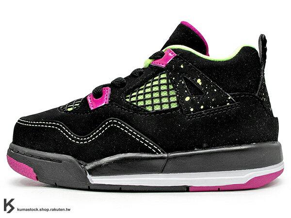 海外入荷 台灣未發售 2015 NIKE JORDAN 4 IV RETRO GT BT TD 30TH 幼童鞋 BABY 鞋 黑紫紅 螢光綠 潑漆 AJ 四代 牛巴戈 AIR (705345-027) !