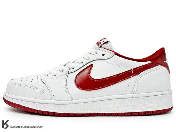 2015 鞋舌 NIKE LOGO 標籤 台灣未發售 NIKE AIR JORDAN 1 RETRO LOW OG BG GS WHITE RED 大童鞋 女鞋 低筒 白紅 公牛 皮革 AJ BANNED 1986 年經典復刻款 (709999-101) !
