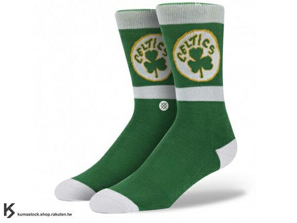 2013 美國加州 襪子 品牌 STANCE SOCKS x NBA 官方授權 NBA HARDWOOD 球隊系列 BOSTON CELTICS 塞爾提克 綠白 LOGO 中長筒襪 (M313ACEL) !