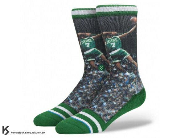 2014 美國加州 襪子 品牌 STANCE SOCKS x NBA 官方授權 NBA LEGENDS 傳奇球星系列 DEE BROWN 賽爾提克 1991 矇眼扣籃 正反面滿版印刷 中長筒襪 (M320A14DEE) !