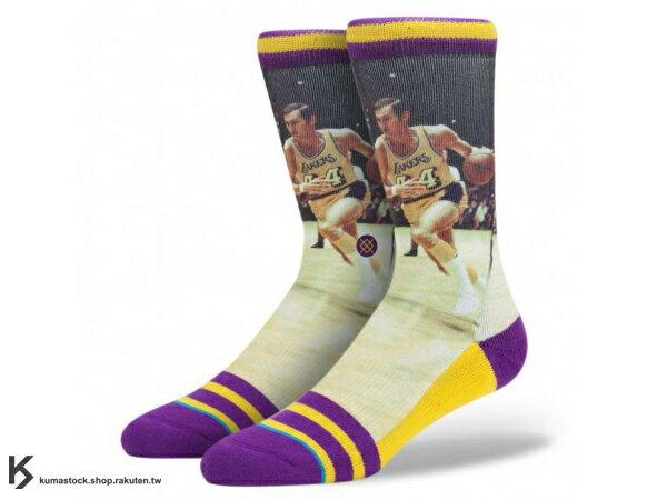 2014 美國加州 襪子 品牌 STANCE SOCKS x NBA 官方授權 NBA LEGENDS 傳奇球星系列 JERRY WEST 洛杉磯 湖人 正反面滿版印刷 中長筒襪 (M320A14JER) !