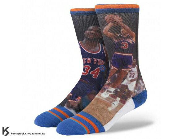 2013 美國加州 襪子 品牌 STANCE SOCKS x NBA 官方授權 NBA LEGENDS 傳奇球星系列 STARKS / OAKLEY 紐約 尼克 正反面滿版印刷 中長筒襪 (M320D13STA) !