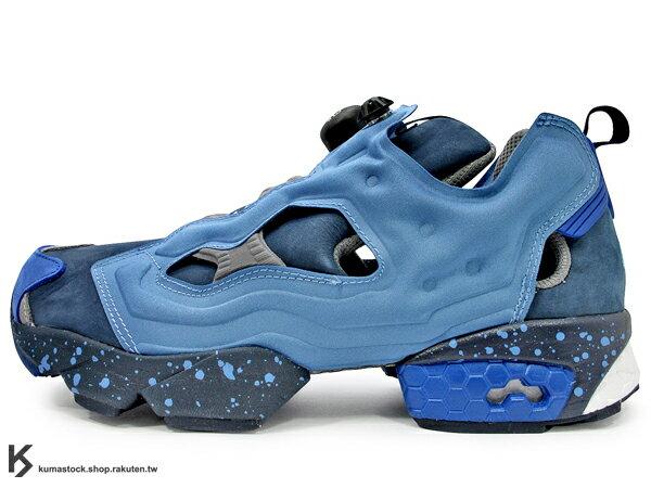 [31cm] 2015 重新 RESTOCK 再上市 原版設計再現 20周年紀念 限量發售 REEBOK x 美國紐約鞋舖 PACKER SHOES x 街頭塗鴉大師 STASH 三方聯名 INSTA PUMP FURY OG 藍紫 潑墨 麂皮 超經典 1994 蜂巢氣墊 原版中底 (V61215) !