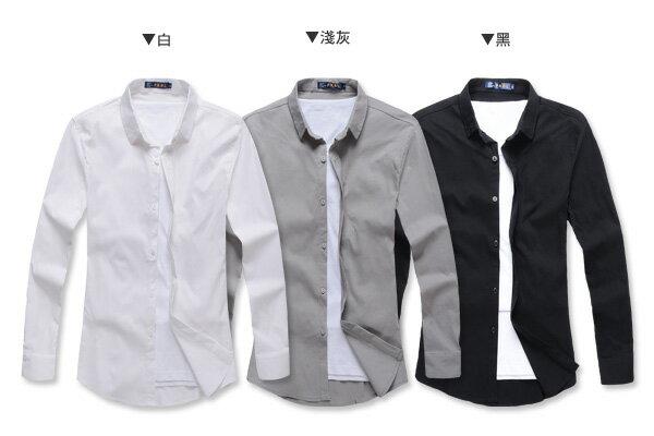 ☆BOY-2☆【NR92010】紳士質感素面修身長袖襯衫 2