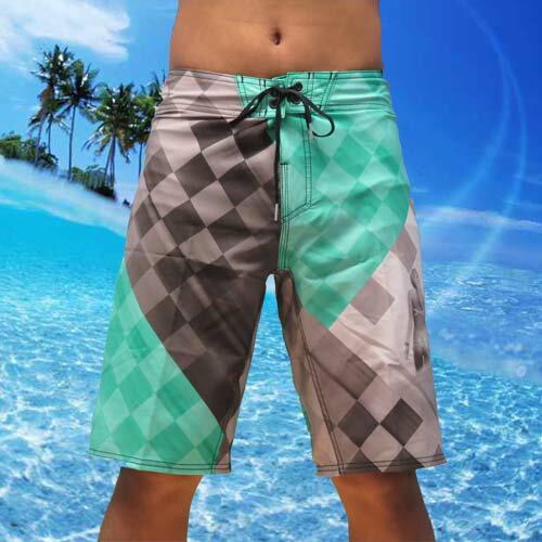 【5折優惠↘】REEF 比基尼女郎REEF 菱格紋有型海灘衝浪褲.黑BLACK