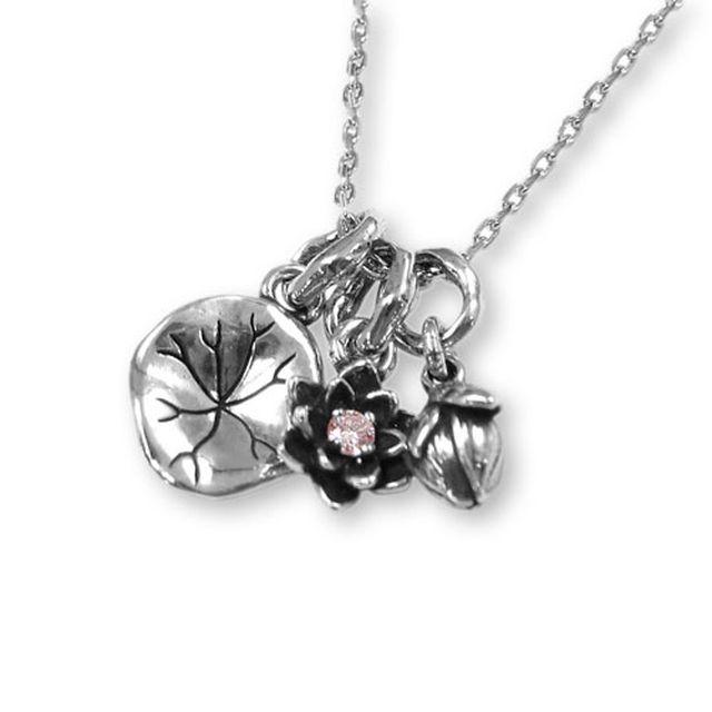 【海外訂購】【KONRON】寶石露水蓮花粉鑽純銀項鍊 45cm(KRP0549-Pd  0263920000) 0