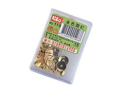 徠福 NO.110 金色圖釘-40支入(大) / 盒