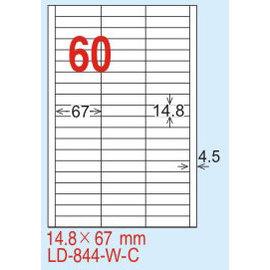 【龍德】 LD-844(直角-可再貼) 雷射、噴墨、影印三用電腦標籤 14.8x67mm 20大張/包