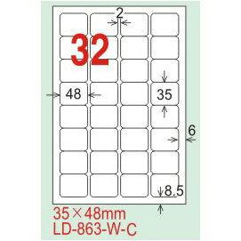 【龍德】LD-863(圓角-可再貼) 雷射、噴墨、影印三用電腦標籤 35x48mm 20大張/包