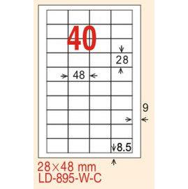 【龍德】LD-895(直角-可再貼) 雷射、噴墨、影印三用電腦標籤 28x48mm 20大張/包