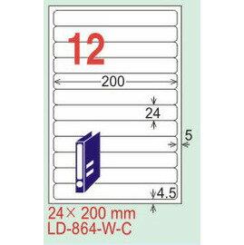 【龍德】LD-864(圓角) 亮面防水相片噴墨標籤 24x200mm 5大張/包