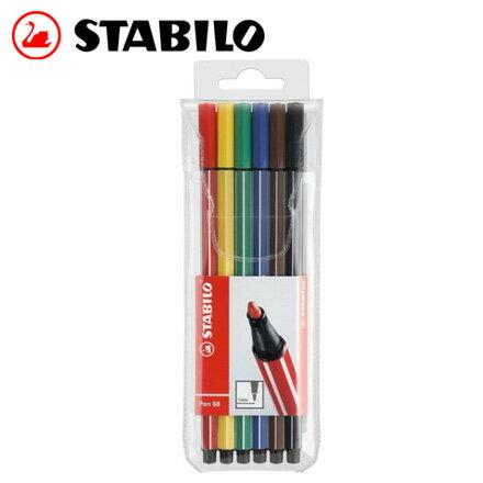STABILO 德國天鵝 Pen 68 系列彩色筆^(6806 PL^) 6色  盒