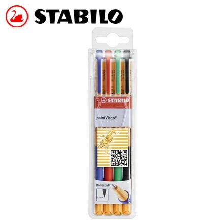 STABILO 德國天鵝 pointVisco XF 極細中性筆(0.5mm) 4色入/ 盒