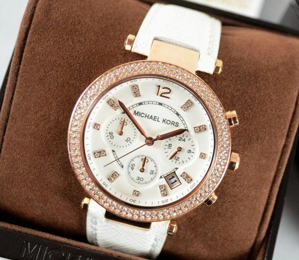 美國Outlet 正品代購 MichaelKors MK 玫瑰金鑲鑽 白色皮帶三環計時手錶腕錶 MK2281 6