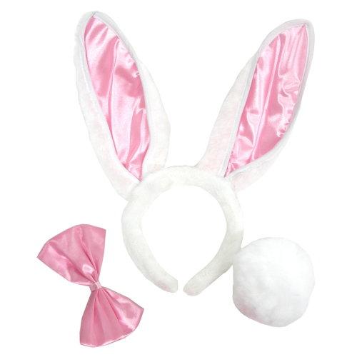 情趣角色扮演性感角色服.兔女郎髮箍(白+粉耳+粉啾)-3件【情趣饗宴】