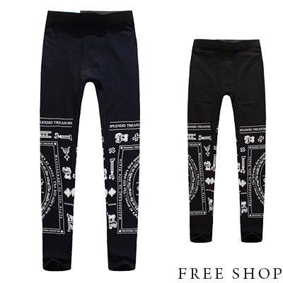 Free Shop【QM88852】歐美潮流型男風格圖騰運動風哥德印花彈性棉質內搭長褲內搭褲‧二色