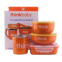 樂天線上婦幼展-點數最高15倍送 媽咪用品推薦美國 ThinkBaby BPA Free 不鏽鋼兒童餐具組 橘色 *夏日微風* 哺育用品kids001