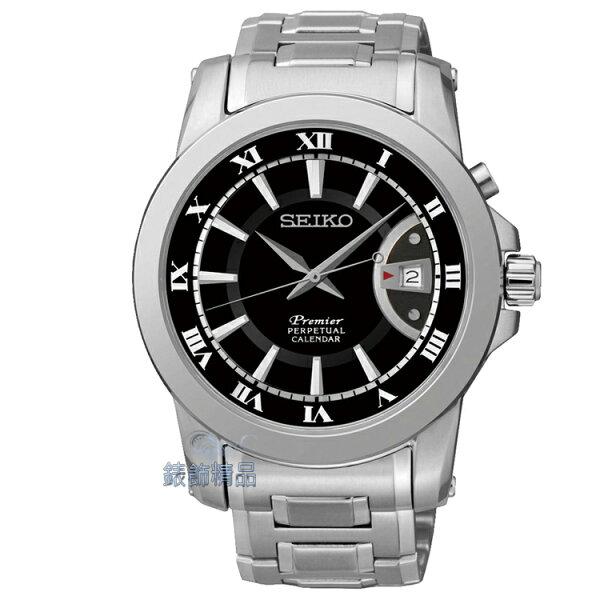 【錶飾精品】SEIKO PREMIER 萬年曆 藍寶石鏡面SNQ141P1黑面鋼帶男表SNQ141J1全新原廠正品6A32-00X0D