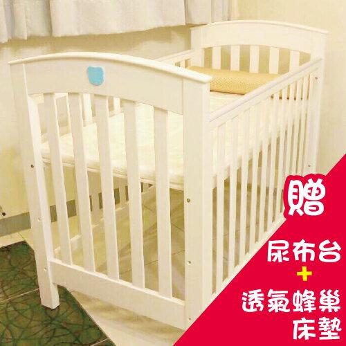 【贈尿布台&透氣蜂巢床墊】【安琪兒】Q熊松木嬰兒大床(白) (預計11月到貨) - 限時優惠好康折扣
