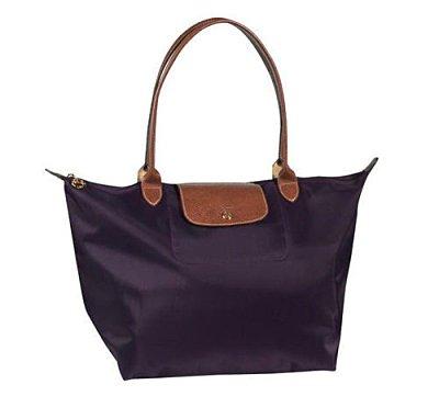 [1899-M號] 國外Outlet代購正品 法國巴黎 Longchamp 長柄 購物袋防水尼龍手提肩背水餃包深紫色