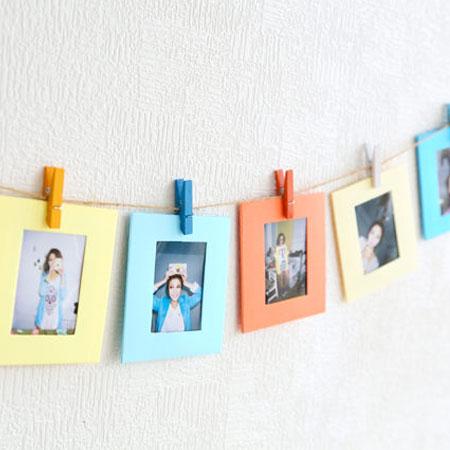 麻繩懸掛拍立得照片牆 彩色木夾子 彩色相框 底片 裝飾 手作 DIY MINI 7S 25 8 50S MINI8【B070086】