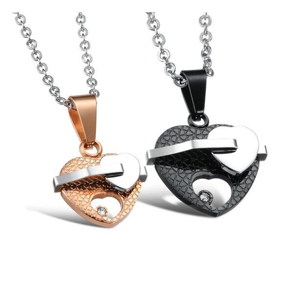 最新款歐美風格特色心心相印造型情侶款鈦鋼項鍊