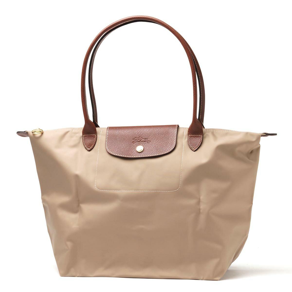 [長柄M號]國外Outlet代購正品 法國巴黎 Longchamp [1899-M號] 長柄 購物袋防水尼龍手提肩背水餃包 卡其色