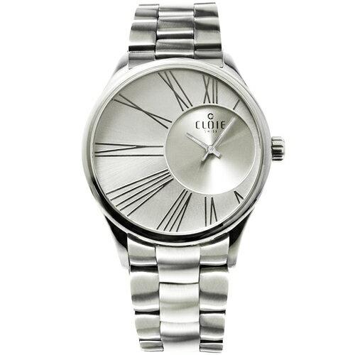 CLOIE 魅力風暴偏心不鏽鋼時尚腕錶-銀白/42mm CL10266-DA20