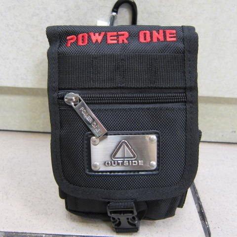 ~雪黛屋~POWER ONE 外掛式腰包 隨身物品專用包 型男必備腰包 防水尼龍布材質 AI690黑-繡字紅